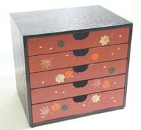 五ツ引出し 春秋 京都 漆器の井助 木製の漆器の引出し