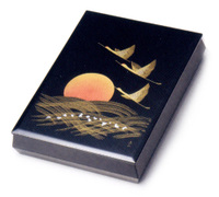 文庫 黒 沈金日の出鶴 A4サイズ 京都 漆器の井助