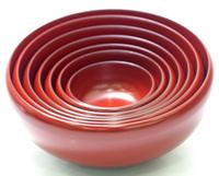 >お好み鉢 七つ入れ子 朱 京都 漆器の井助 漆塗り 入れ子鉢・ボウルの大小セット