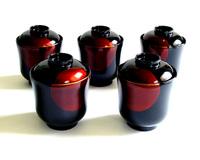 小吸物椀 日月白檀 5客セット 京都 漆器の井助 蓋付きの漆塗りのお椀