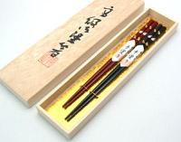 夫婦箸 六ひょうたん蒔絵 木箱入り 京都 漆器の井助