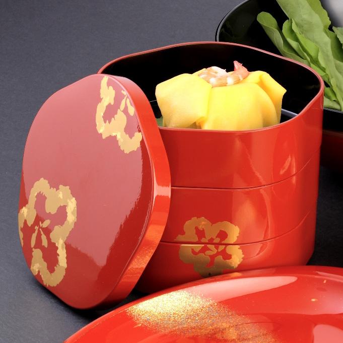 梅型三段 重箱 京都 漆器の井助 3段  漆器の重箱