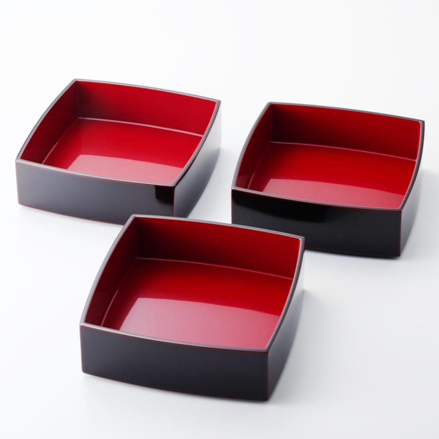 胴張三段重箱 溜内朱 6寸 【送料無料】