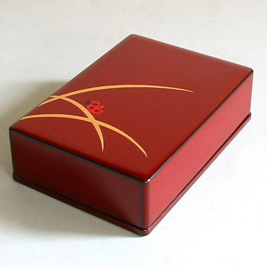 名刺箱 縁起漆絵 てんとう虫名刺ケース・名刺入れ 漆塗り  漆器の井助