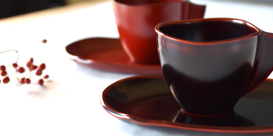 コーヒーカップ&ソーサーセット 漆塗り 漆器の井助