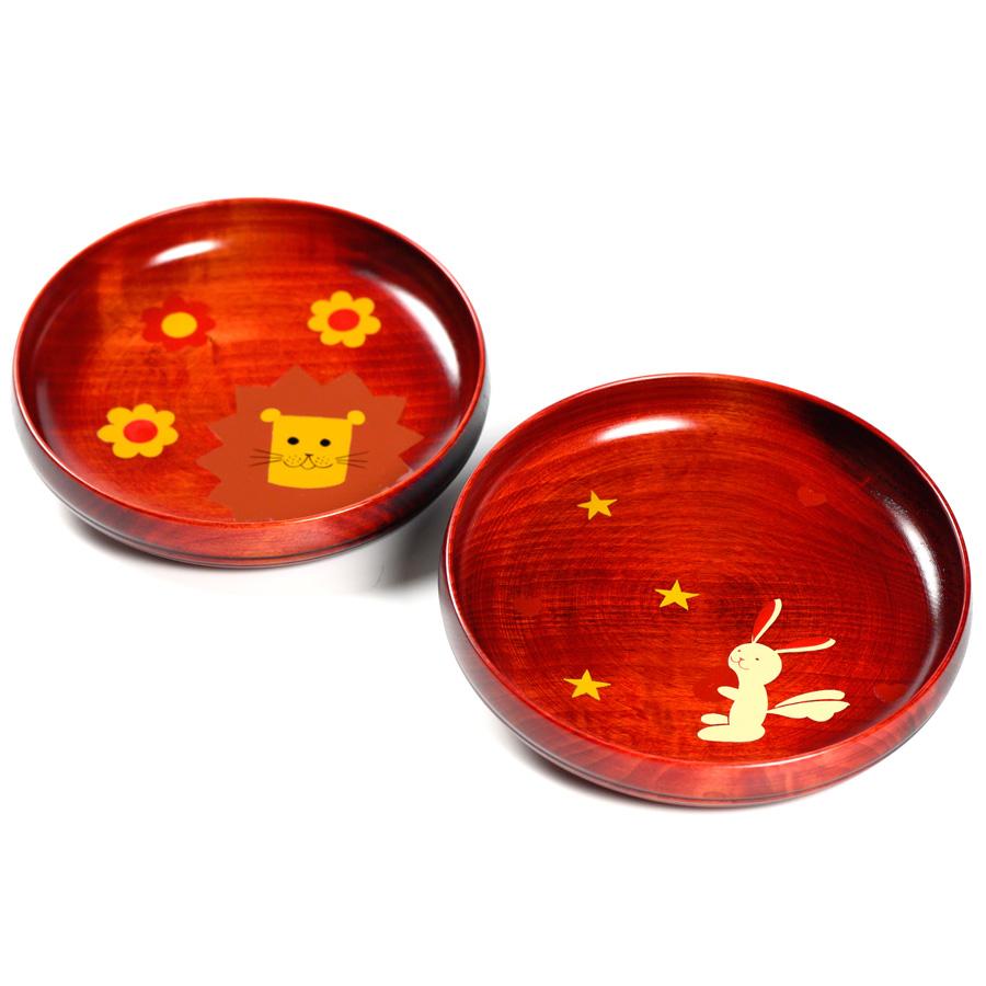 アニマル柄盛皿 茜 木製 漆塗り 子供用食器 漆器の井助