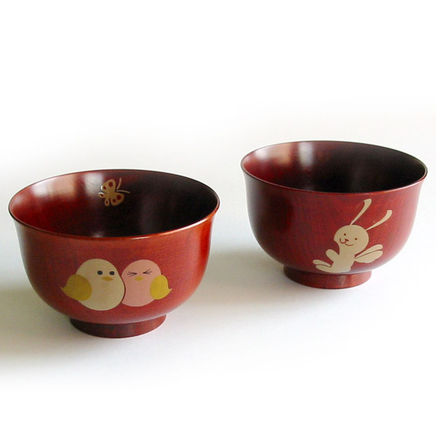 アニマル柄汁椀 桜 茜 木製 漆塗り 木のお椀・味噌汁椀 子供用食器 漆器の井助