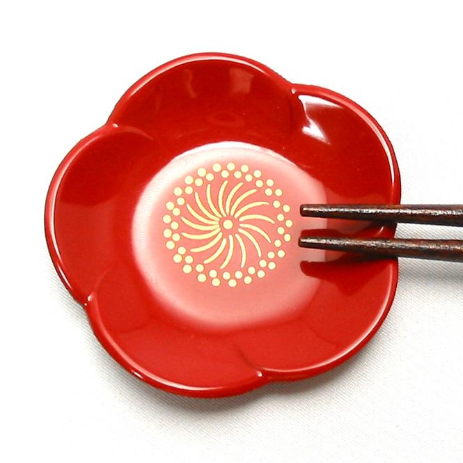 福梅銘々皿 5枚セット 漆塗り 取り皿・小皿 漆器の井助