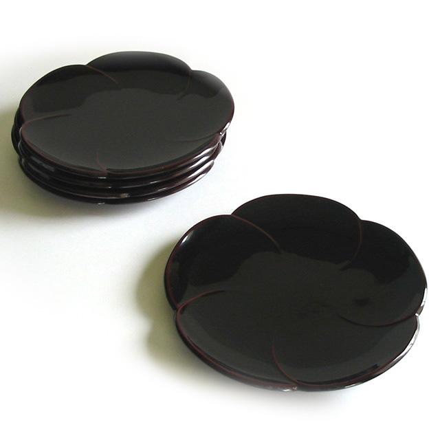 福梅銘々皿 5枚セット 漆塗り 漆器の井助