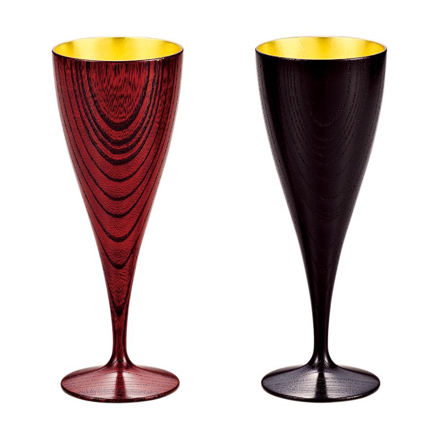 ワインペアカップ ひびき 内金箔 【送料無料】 木製 漆塗り 漆器の井助