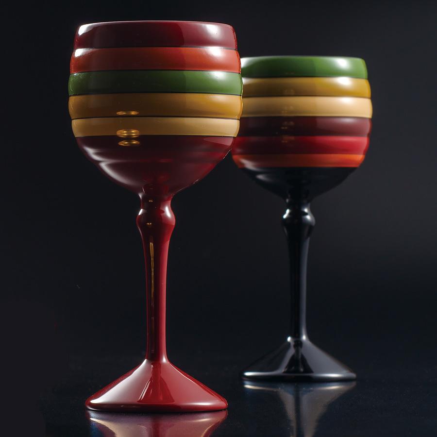 ワインペアカップ 極み 独楽文様 内金箔 【送料無料】 木製 漆塗り 漆器の井助