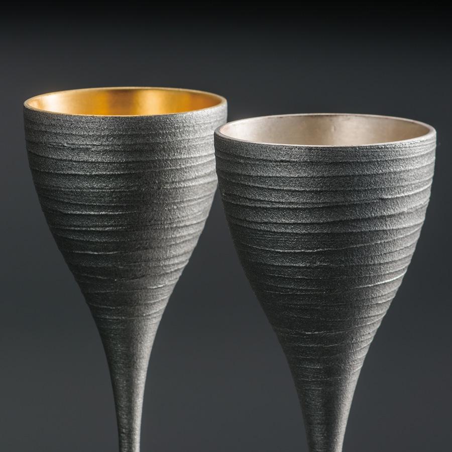 ワインペアカップ 銀さび  内金箔・銀箔 【送料無料】 木製 漆塗り 漆器の井助