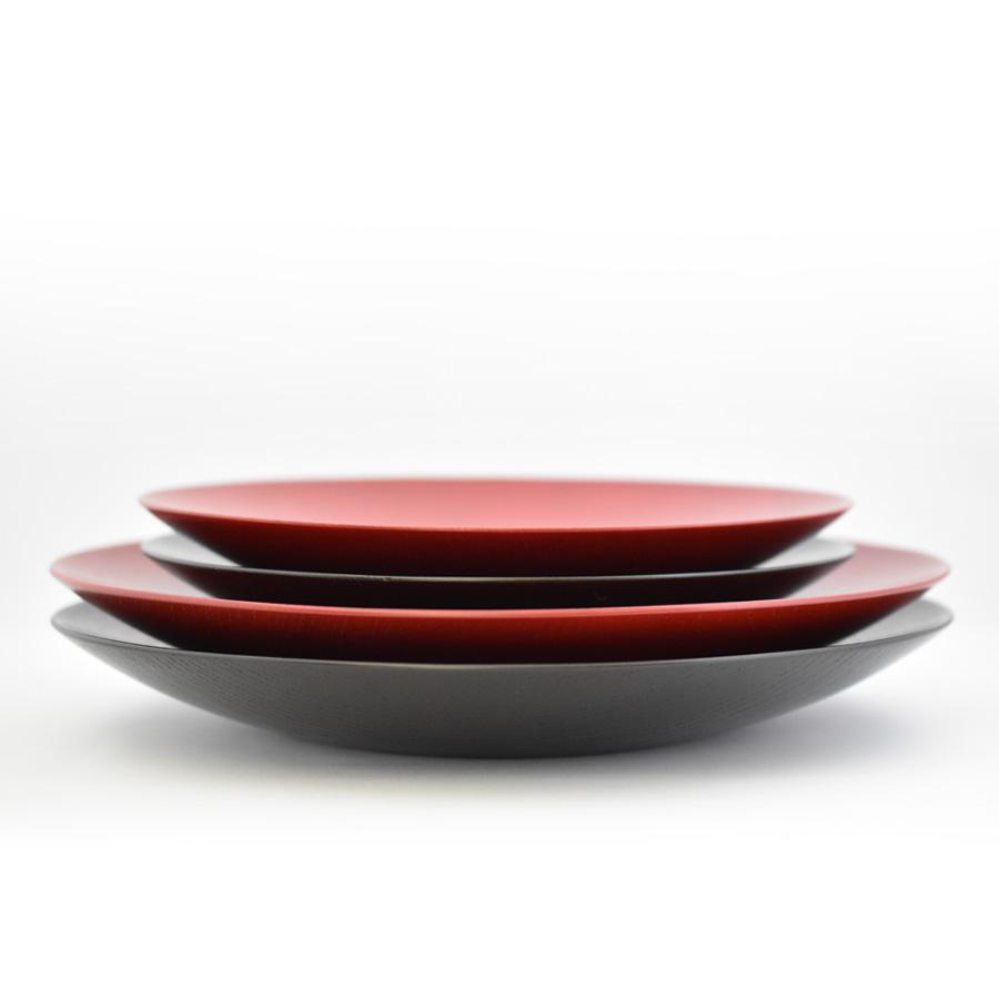 MOKU 丸皿 赤黒スリ漆