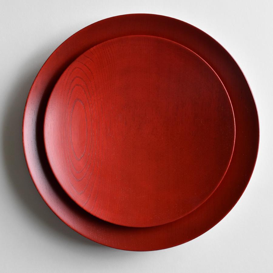 MOKU 丸皿 赤黒スリ漆 小