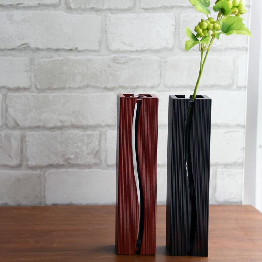 一輪挿し花生け ウェーブ 根来 木製 花器 花瓶 一輪差し