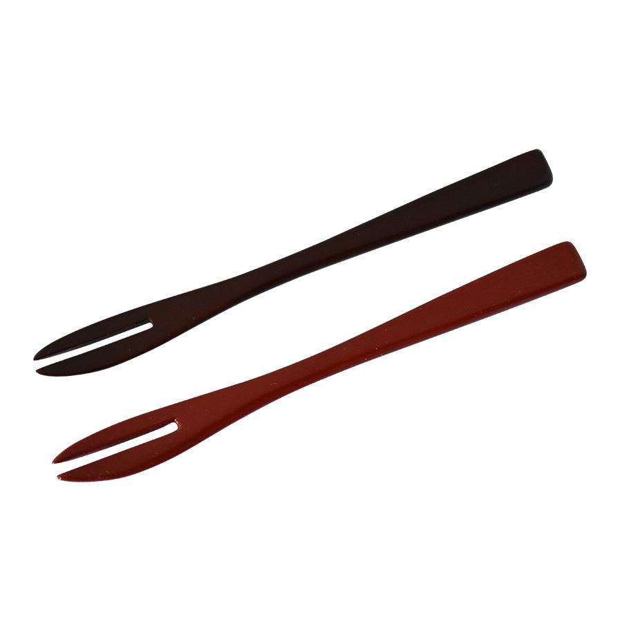 木製漆塗りの和菓子切りフォーク